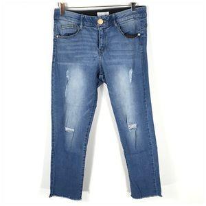 Jolt Tummy Control Destructed Crop Jeans Sz 11